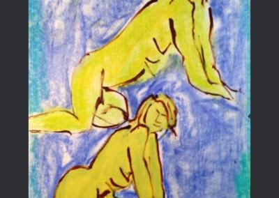 Back door slider 11 X 14 Oil Pastel on Paper