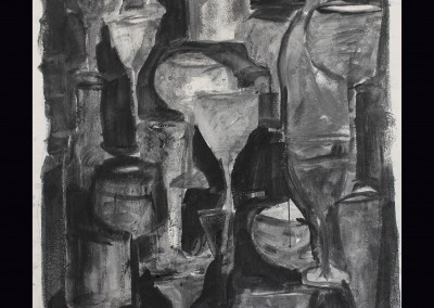 Bottles and glasses 24 X 18 Charcoal, Graphite on Paper