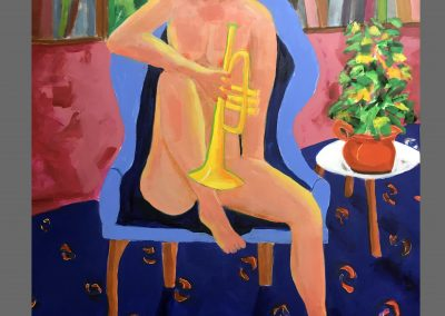 Lady with trumpet 48 X 36 Acyilic on Canvas