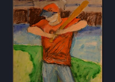 Oriole Fan 22 X 17 Oil Stick on paper