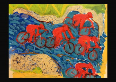 Red cyclists 18 X 22 Acrylic on paper