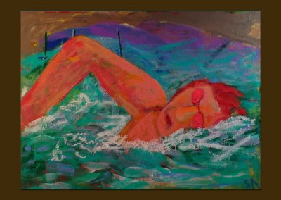 The Swimmer 18 X 24 Acrylic Oil Stick on Canvas