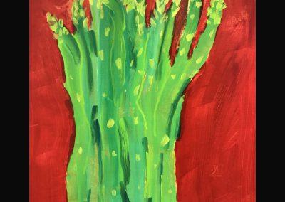 Asparagus 14x12 Acrylic on Wood Panel