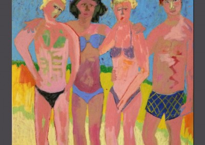 At the beach 36 X 36 Oil stick, acrlyic on canvas