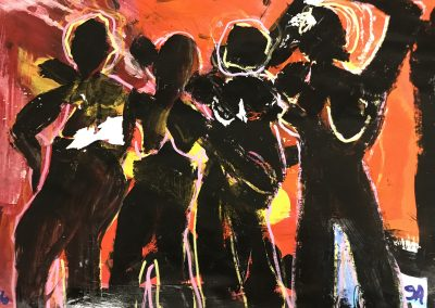 Black Dancers 12x15 Acrylic on Palette Paper