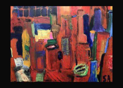 Bottles 24x30 Oil stick on canvas