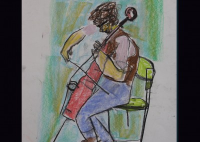 Cello Player 16 X 14 Chalk Pastel on  Paper