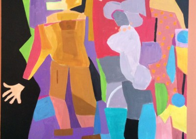 Family of four plus one 40 X 40 Acrylic on canvas