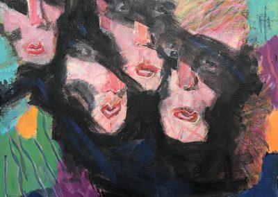 Four Faces 18x16 Acrylic on Canvas