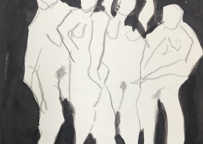 Four nudes 14 X 10 ink, pencil on paper