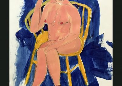 Lady in Yellow Chair 14x12 Water Color, graphite on Paper
