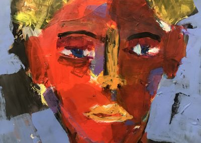 Man with red face 16 X 13 acrylic on palette paper