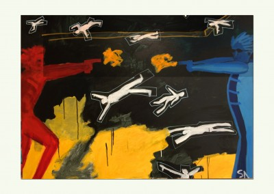 Neighborhood Scuffle 36 X 48
