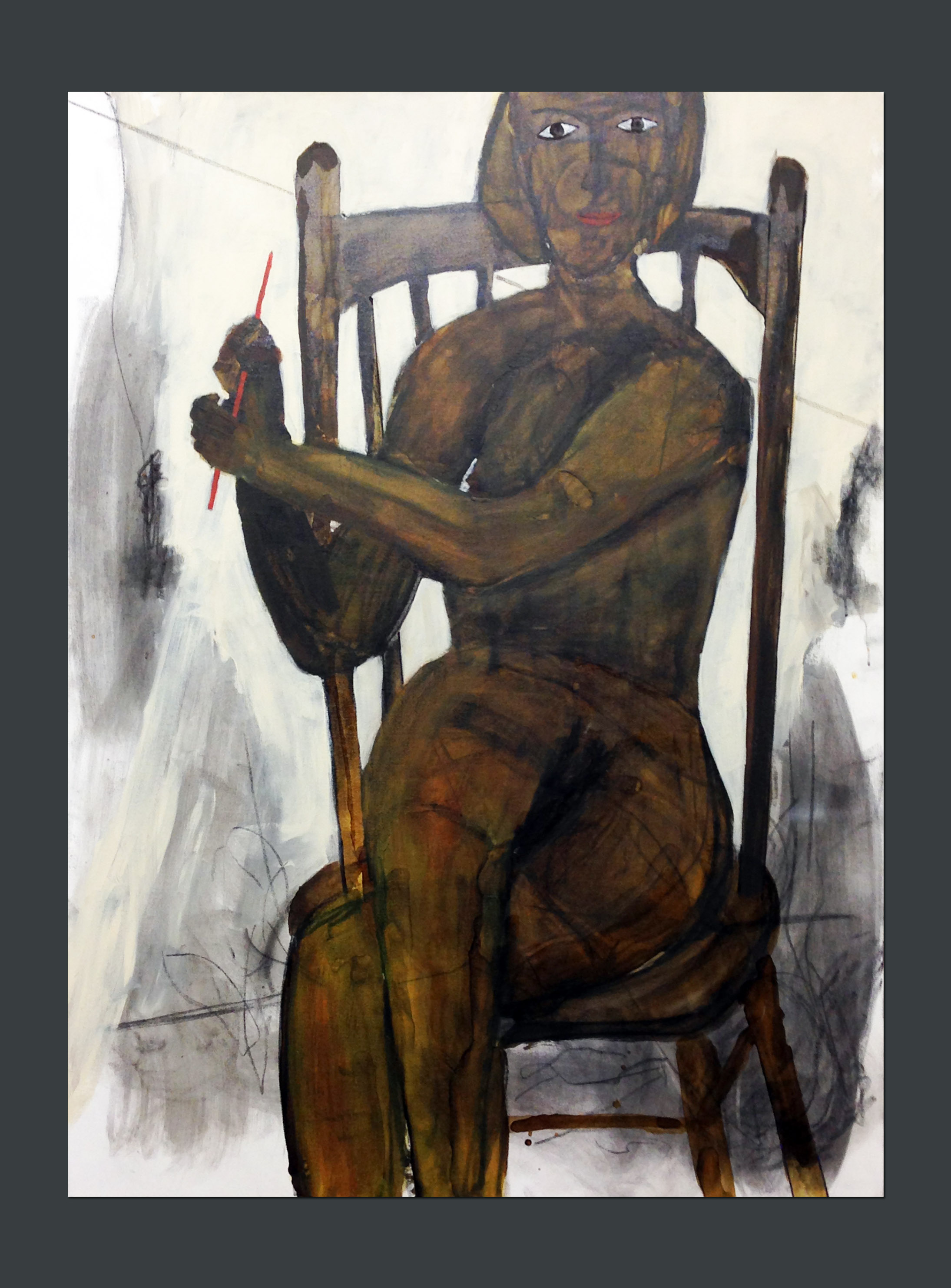 Nude performing red straw trick 48 X 36 Shellac, charcoal, acrylic on canvas