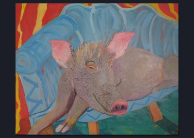 Pig on a blue sofa 24 X 30 Acrylic on Canvas