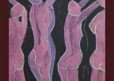 Purple Dancers 12 X 12 Acrylic on Canvas border