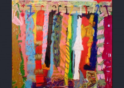 Shoes in the Closet 40 X 30 Oil Stick on Canvas