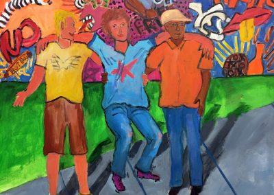 Three Guys 36x36 Acrylic on canvas