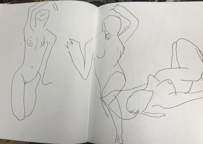 Three nudes 12 X 18 ink on paper
