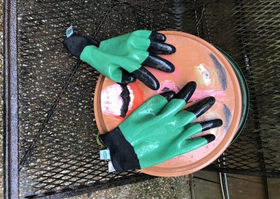 Trouble in the Garden 14x14 sculpture rubber gloves and dish