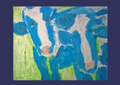 Blue Cows 17 X 22 Acrylic, Oil Pastel on Paper