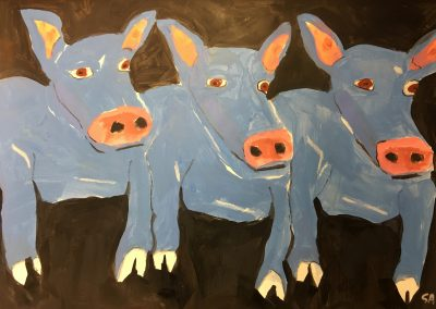 Blue Pigs 18x24 Acrylic on Paper