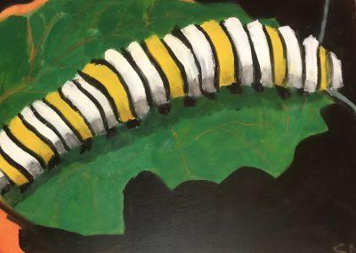 Monarch Caterpillar #! 30x20 Acrylic on Canvas