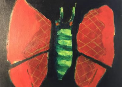 Red Winged Moth 16x20 Acrylic on Canvas