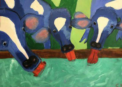 Three Cows of Myrna 36 x 24 Acrylic on Canvas