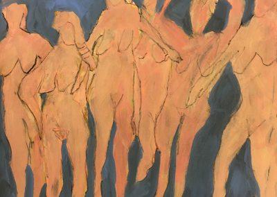 Six Women 24x18 Shellac, Acrylic on Paper