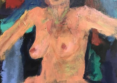 Woman with Green Necklace 14x12 Acrylic on canvas