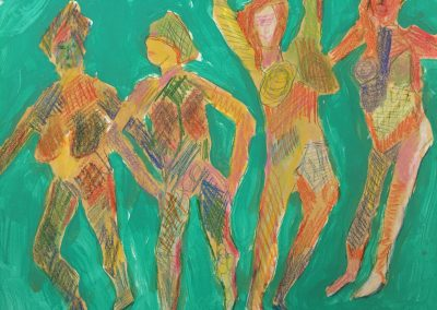 Four Feisty Women 24x18 Acrylic,Colored Pencil on Paper