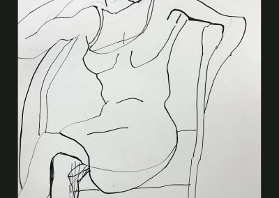 In Her Chair 16x13 Ink on Paper