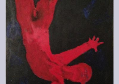 Red Man Falling 40 X 30 Acrylic, Oil Stick on Canvas