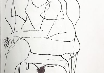 Woman in Chair 11 X 9 ink on paper