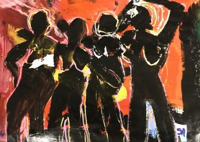 Dancing black women 13 X 16 acrylic on palette paper