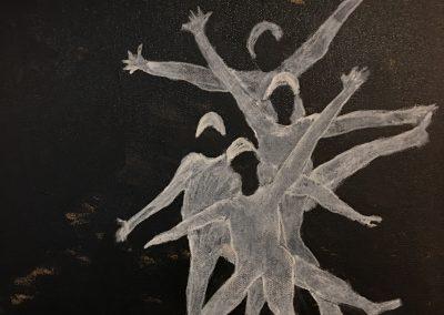 Four Dancers 18x18 Acrylic on Canvas